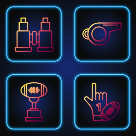 Set line Number 1 one fan hand glove with finger raised and american football ball, Award cup and American football ball, Binoculars and Whistle. Gradient color icons. Vector