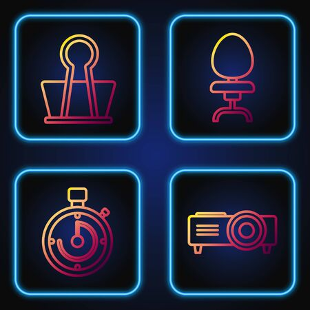 Set line Presentation, movie, film, media projector, Briefcase, Binder clip and Office chair. Gradient color icons. Vector