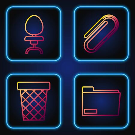 Set line Document folder, Trash can, Office chair and Paper clip. Gradient color icons. Vector