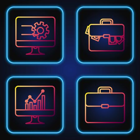 Set line Briefcase, Computer monitor with graph chart, Computer monitor with graph chart and Briefcase and money. Gradient color icons. Vector 일러스트