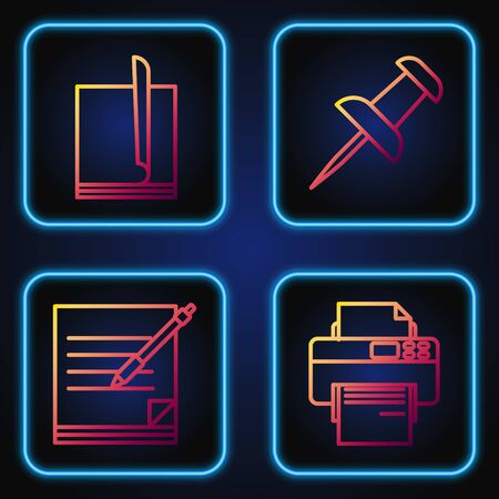 Set line Printer, Blank notebook and pen, File document and Push pin. Gradient color icons. Vector Stock Illustratie