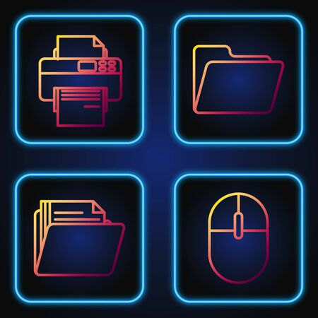 Set line Computer mouse, Document folder, Printer and Document folder. Gradient color icons. Vector