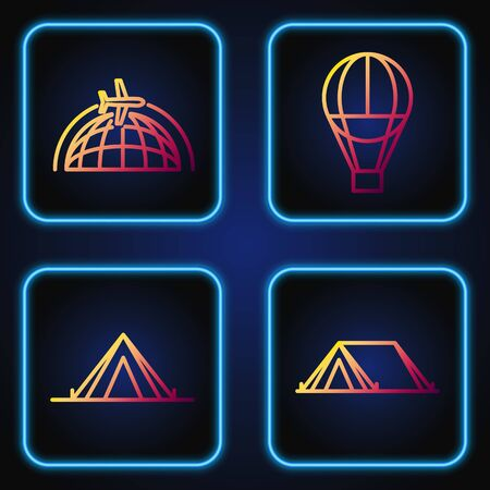 Set line Tourist tent, Tourist tent, Globe with flying plane and Hot air balloon. Gradient color icons. Vector 일러스트