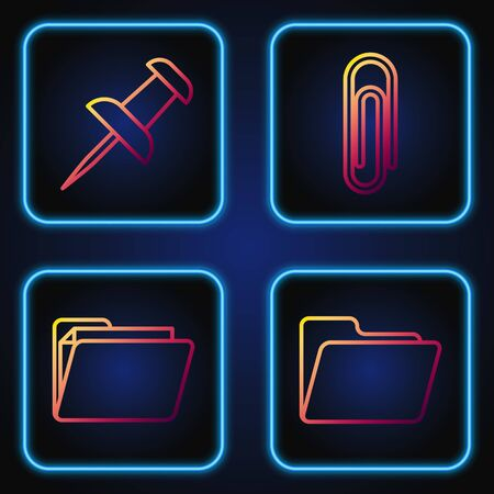 Set line Document folder, Document folder, Push pin and Paper clip. Gradient color icons. Vector 일러스트