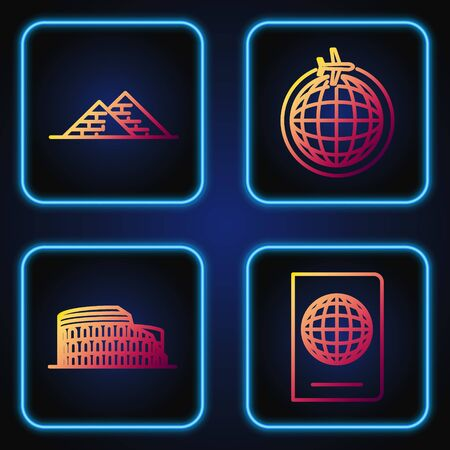Set line Passport with biometric data, Coliseum in Rome, Italy, Egypt pyramids and Globe with flying plane. Gradient color icons. Vector