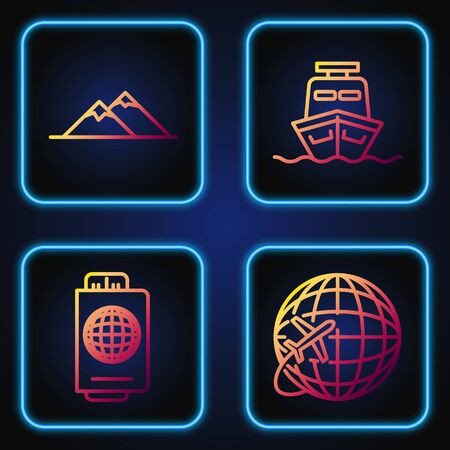 Set line Globe with flying plane, Passport with ticket, Mountains and Ship. Gradient color icons. Vector