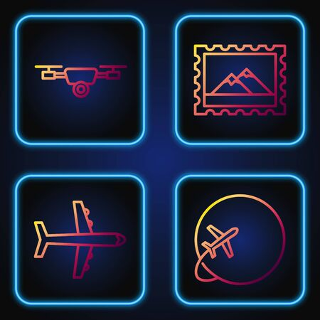 Set line Globe with flying plane, Plane, Drone flying with action video camera and Postal stamp and Mountains. Gradient color icons. Vector