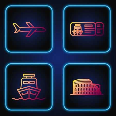 Set line Coliseum in Rome, Italy, Ship, Plane and Cruise ticket for traveling by ship. Gradient color icons. Vector