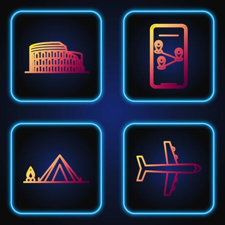 Set line Plane, Tourist tent with wood fire, Coliseum in Rome, Italy and Infographic of city map navigation. Gradient color icons. Vector