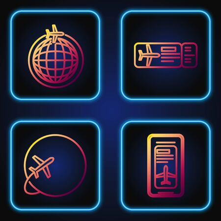 Set line Smartphone with electronic boarding pass airline ticket, Globe with flying plane, Globe with flying plane and Airline ticket. Gradient color icons. Vector Illusztráció