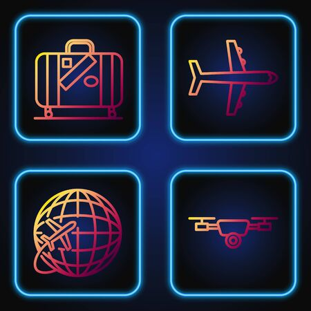 Set line Drone flying with action video camera, Globe with flying plane, Suitcase for travel and stickers and Plane. Gradient color icons. Vector