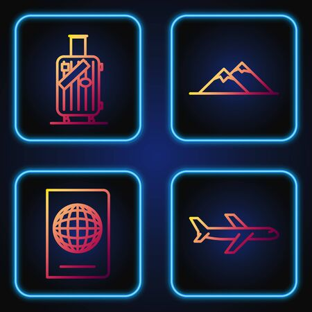 Set line Plane, Passport with biometric data, Suitcase for travel and stickers and Mountains. Gradient color icons. Vector Illusztráció