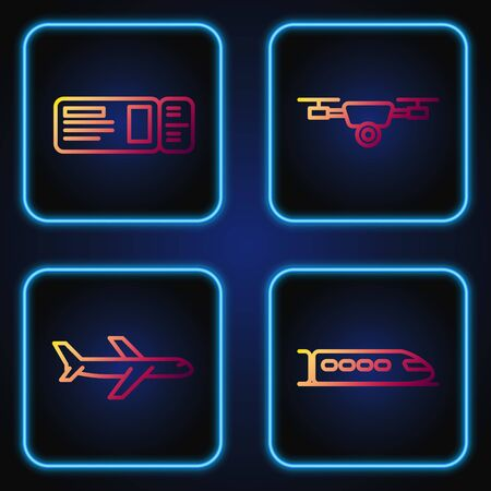 Set line Train, Plane, Travel ticket and Drone flying with action video camera. Gradient color icons. Vector Illusztráció