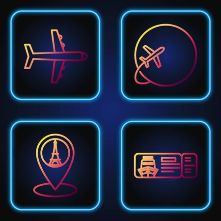 Set line Cruise ticket for traveling by ship, Map pointer with Eiffel tower, Plane and Globe with flying plane. Gradient color icons. Vector
