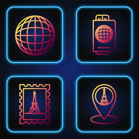 Set line Map pointer with Eiffel tower, Postal stamp and Eiffel tower, Earth globe and Passport with ticket. Gradient color icons. Vector Illustration