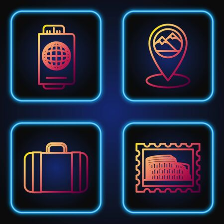 Set line Postal stamp and Coliseum, Suitcase for travel, Passport with ticket and Map pointer with mountain. Gradient color icons. Vector