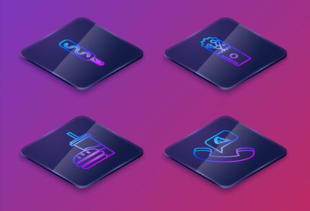 Set Isometric line Ice cream, Paper glass with drinking straw and burger, Doner kebab and Food ordering pizza. Blue square button. Vector