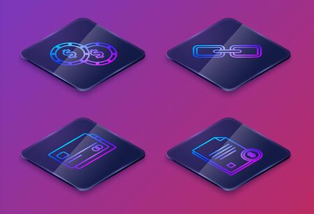 Set Isometric line Coin money with dollar symbol, Credit card, Chain link and Finance document. Blue square button. Vector