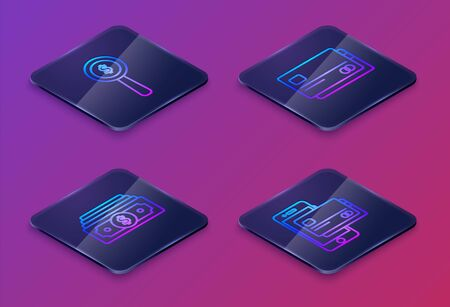 Set Isometric line Magnifying glass and dollar symbol, Stacks paper money cash, Credit card and Mobile phone and credit card. Blue square button. Vector