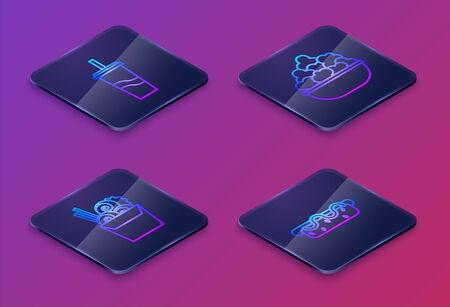 Set Isometric line Paper glass with drinking straw and water, Asian noodles in paper box and chopsticks, Popcorn in bowl and Hotdog sandwich with mustard. Blue square button. Vector