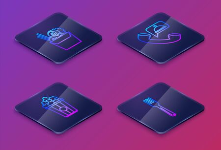 Set Isometric line Asian noodles in paper box and chopsticks, Popcorn in cardboard box, Food ordering and Fork. Blue square button. Vector