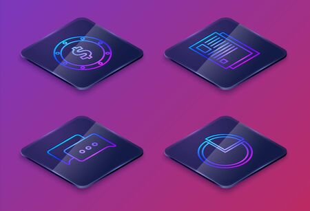 Set Isometric line Coin money with dollar symbol, Speech bubble chat, File document and Pie chart infographic. Blue square button. Vector