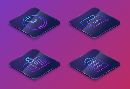 Set Isometric line Clock, Identification badge, Speech bubble chat and Clipboard with checklist. Blue square button. Vector