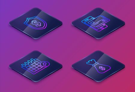 Set Isometric line Shield with dollar symbol, Calendar, Mobile phone and credit card and Money bag. Blue square button. Vector