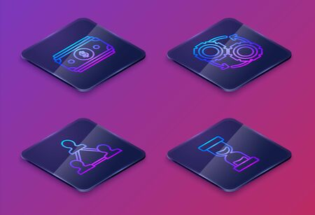Set Isometric line Stacks paper money cash, Project team base, Gear and arrows as workflow process concept and Old hourglass with flowing sand. Blue square button. Vector