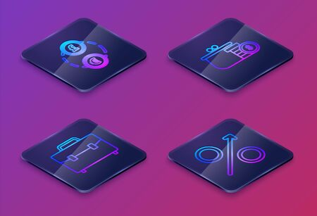 Set Isometric line Money exchange, Briefcase, Wallet with coins and Percent up arrow. Blue square button. Vector