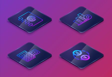 Set Isometric line Address book, Calculator with dollar symbol, Presentation financial with graph, schedule, chart, diagram, infographic, pie graph and Money exchange. Blue square button. Vector