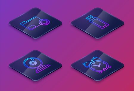 Set Isometric line Folder settings with gears, Web camera, USB flash drive and Alarm clock. Blue square button. Vector 일러스트