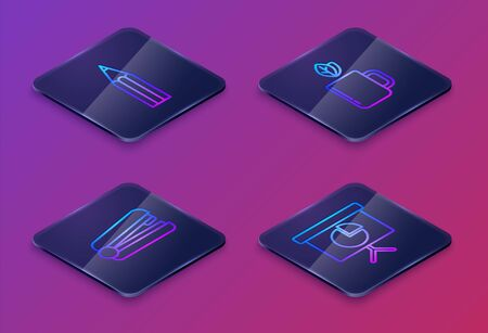 Set Isometric line Pencil, Office stapler, Cup of tea and leaf and Presentation financial board with graph, schedule, chart, diagram, infographic, pie graph. Blue square button. Vector Illusztráció