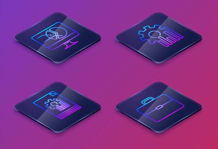 Set Isometric line Computer monitor with graph chart, Document with graph chart, Pie chart infographic and Briefcase. Blue square button. Vector