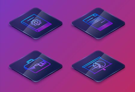 Set Isometric line User manual, Briefcase and money, Document and Board with graph chart. Blue square button. Vector