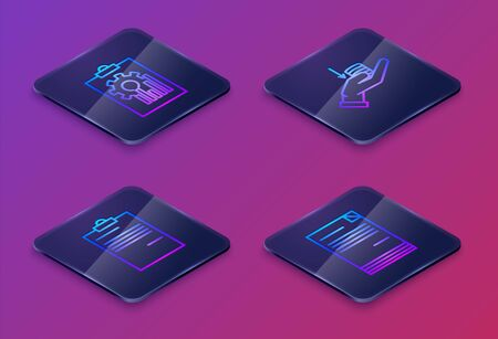 Set Isometric line Clipboard with graph chart, Document, Money on hand and Document. Blue square button. Vector