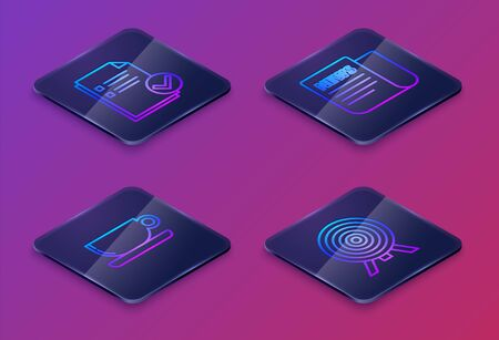 Set Isometric line Document and check mark, Coffee cup flat, News and Target. Blue square button. Vector