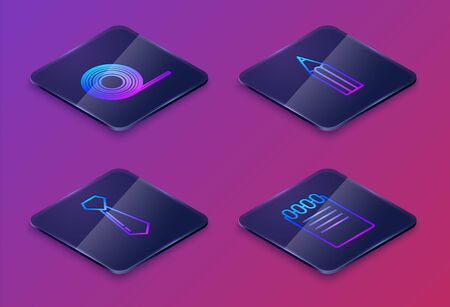 Set Isometric line Scotch, Tie, Pencil and Notebook. Blue square button. Vector