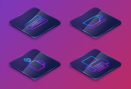 Set Isometric line Office stapler, Cup of tea and leaf, Coffee cup flat and Printer. Blue square button. Vector
