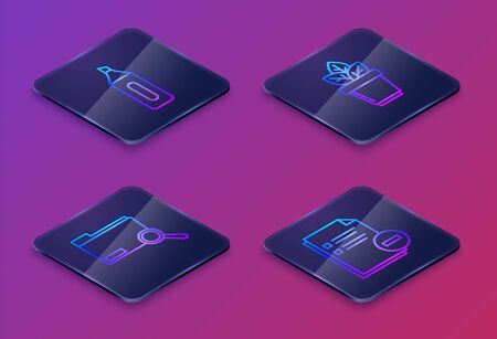 Set Isometric line Marker pen, Search concept with folder, Flowers in pot and Document with minus. Blue square button. Vector