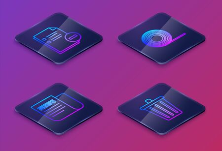 Set Isometric line Document with minus, News, Scotch and Trash can. Blue square button. Vector Ilustracja