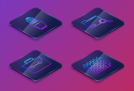Set Isometric line Cactus and succulent in pot, Briefcase, Search concept with folder and Calendar. Blue square button. Vector Ilustracja