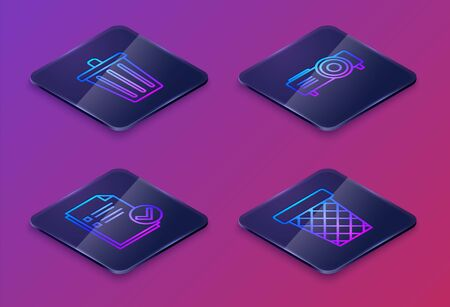 Set Isometric line Trash can, Document and check mark, Presentation, movie, film, media projector and Trash can. Blue square button. Vector