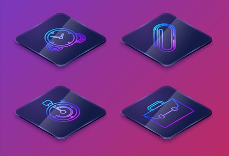 Set Isometric line Time Management, Briefcase, Paper clip and Briefcase. Blue square button. Vector Ilustracja
