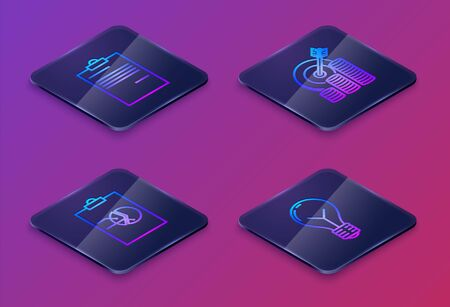 Set Isometric line Document, Clipboard with graph chart, Target with coin symbol and Light bulb with concept of idea. Blue square button. Vector