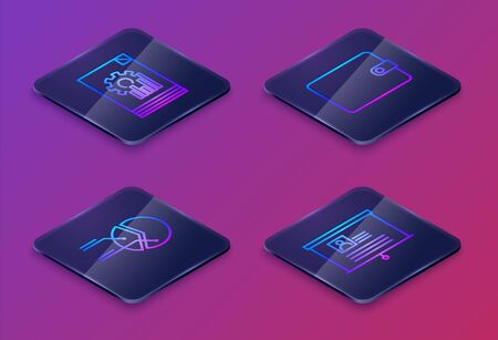 Set Isometric line Document with graph chart, Pie chart infographic, Wallet and Board with resume. Blue square button. Vector