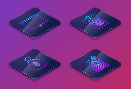 Set Isometric line Chalkboard, Money bag, Clipboard with graph chart and Target with coin symbol. Blue square button. Vector