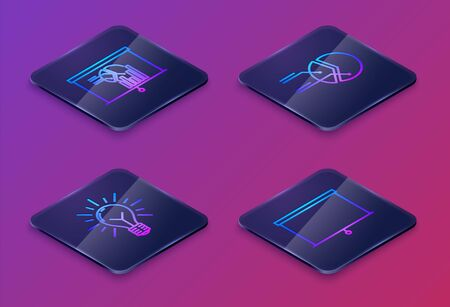 Set Isometric line Board with graph chart, Light bulb with rays shine and concept of idea, Pie chart infographic and Chalkboard. Blue square button. Vector