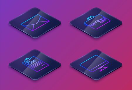 Set Isometric line Envelope, Clipboard with resume, Briefcase and money and Computer monitor screen. Blue square button. Vector