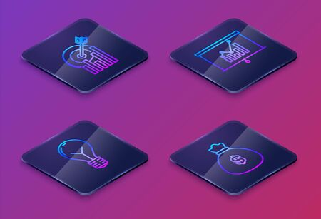 Set Isometric line Target with graph chart, Light bulb with concept of idea, Board with graph chart and Money bag. Blue square button. Vector